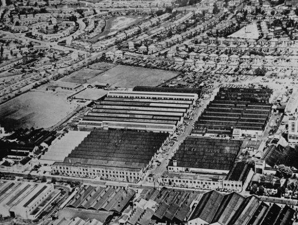 An aerial view of Guy Motors' Fallings Park Factory